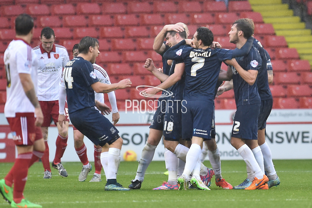 Shouthend united celebrate going 1-0 up during the Sky Bet League 1 match between Sheffield Utd and Southend United at Bramall Lane, Sheffield, England on 14 November 2015. Photo by Ian Lyall.