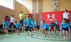 06.05.2013, Volksschule, Dorf an der Pram, AUT, OeSV, Sommer Einkleidung, im Bild Bernhard Gruber(Nordische Kombination OeSV), Marlies Schild (Ski Alpin OeSV) und Gregor Schlierenzauer (Skisprung OeSV) bei einer Koordinationsuebung mit den Schuelern // during Summer outfitting of Austrian Ski Federation at the elementary school, Dorf an der Pram, Austria on 2013/05/06. EXPA Pictures © 2013, PhotoCredit: EXPA/ Juergen Feichter