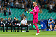 SYDNEY, AUSTRALIA - OCTOBER 27: Sydney FC goalkeeper Andrew Redmayne (1) celebrates Sydney's opening goal at The Hyundai A-League Round 1 soccer match between Sydney FC and Western Sydney Wanderers FC The Sydney Cricket Ground in Sydney on October 27, 2018. (Photo by Speed Media/Icon Sportswire)
