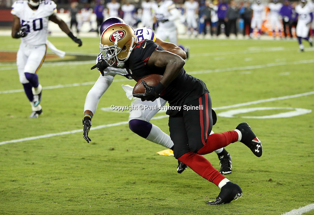 San Francisco 49ers wide receiver Bruce Ellington (10) gets chased by Minnesota Vikings outside linebacker Anthony Barr (55) after catching a third quarter pass during the 2015 NFL week 1 regular season football game against the Minnesota Vikings on Monday, Sept. 14, 2015 in Santa Clara, Calif. The 49ers won the game 20-3. (©Paul Anthony Spinelli)