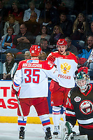 KELOWNA, CANADA - NOVEMBER 9: Team Russia celebrates a goal on November 9, 2015 during game 1 of the Canada Russia Super Series at Prospera Place in Kelowna, British Columbia, Canada.  (Photo by Marissa Baecker/Western Hockey League)  *** Local Caption *** Ivan Nikolishin;