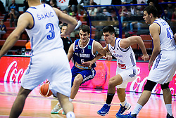 Nemanja Krstic of KK Mornar vs Nik Slavica of Cibona during basketball match between KK Cibona Zagreb (CRO) and KK Mornar (MNE) in Round #4 of FIBA Champions League 2016/17, on November 9, 2016 in Drazen Petrovic Basketball center, Zagreb, Croatia. Photo by Vid Ponikvar / Sportida