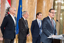 24.01.2018, Hofburg, Wien, Pyeongchang 2018, Vereidigung der Olympia-Mannschaft durch den Bundespräsidenten, im Bild Vizekanzler Heinz-Christian Strache (FPÖ) vor ÖOC-Präsident Karl Stoss, Bundespräsident Alexander Van der Bellen und Bundeskanzler Sebastian Kurz (ÖVP) // Austrian Vice Chancellor Heinz-Christian Strache in front of President of the Austrian Austrian Olympic Committee Karl Stoss, federal president of Austria Alexander Van der Bellen and Austrian Federal Chancellor Sebastian Kurz during the swearing-in of the Austrian National Olympic Committee for Pyeongchang 2018 at Hofburg in Vienna, Austria on 2018/01/24, EXPA Pictures © 2018 PhotoCredit: EXPA/ Michael Gruber