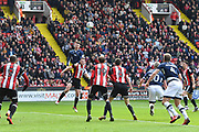 Millwall FC defender Jake Cooper (35) heads towards goal during the EFL Sky Bet Championship match between Sheffield United and Millwall at Bramall Lane, Sheffield, England on 14 April 2018. Picture by Ian Lyall.