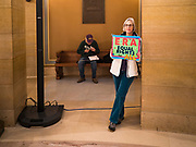 05 MARCH 2020 - ST. PAUL, MINNESOTA: ELIZABETH LANGER at a rally in support of the ERA in the rotunda at the Minnesota State Capitol. About 75 people, mostly women, came to the capitol to support ratification of the Equal Rights Amendment and mark the local observance of International Women's Day. International Women's Day is celebrated on March 8 around the world.   PHOTO BY JACK KURTZ