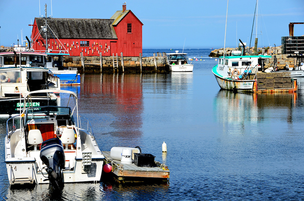 Bradley Wharf, Motif #1 and Lobster Boats in Inner Harbor of Rockport, Massachusetts<br />