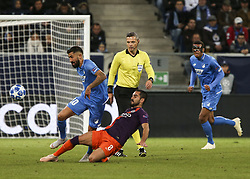 October 2, 2018 - France - Kerem Kaderabek 10; Ilkay Gundogan 8;  during the UEFA Champions League group F football match between TSG 1899 Hoffenheim and Manchester City at the Rhein-Neckar-Arena in Sinsheim, southwestern Germany, on October 2, 2018. (Credit Image: © Panoramic via ZUMA Press)