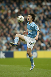MANCHESTER, ENGLAND - Saturday, March 27, 2004: Manchester City's Jihai Sun in action against Fulham during the Premiership match at the City of Manchester Stadium. (Pic by David Rawcliffe/Propaganda)