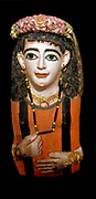 Mummy mask of a lady wearing a jewelled garland. AD 60-70 Roman Egyptian from Meir