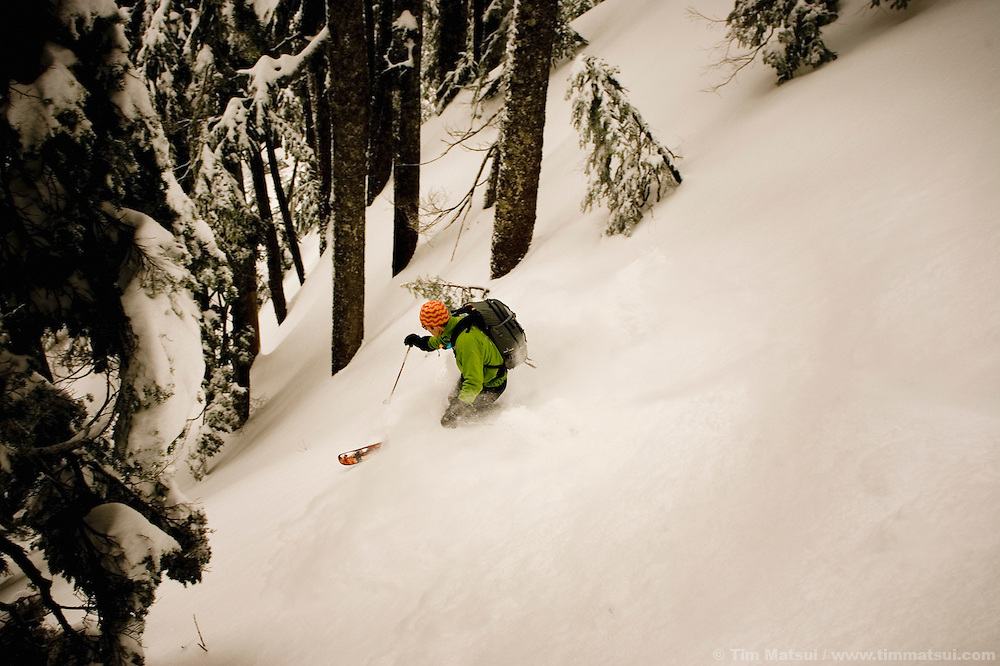 A telemark skier in the back country of Washington's Cascade mountain range.