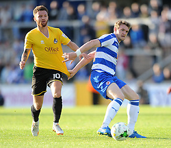 Matty Taylor of Bristol Rovers jostles for the ball with Niall Keown of Reading - Mandatory by-line: Dougie Allward/JMP - 21/07/2015 - SPORT - FOOTBALL - Bristol,England - Memorial Stadium - Bristol Rovers v Reading - Pre-Season Friendly