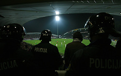 Police watching the fourth round qualification game of 2010 FIFA WORLD CUP SOUTH AFRICA in Group 3 between Slovenia and Northern Ireland at Stadion Ljudski vrt, on October 11, 2008, in Maribor, Slovenia.  (Photo by Vid Ponikvar / Sportal Images)
