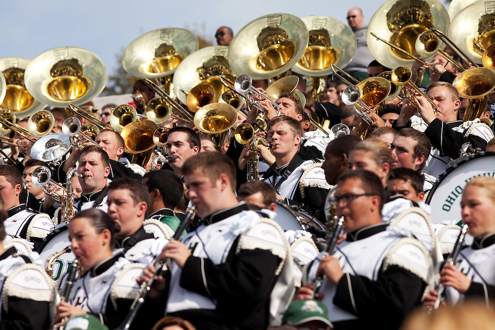The Ohio University Marching Band plays during the homecoming football game on homecoming weekend on Saturday, October 13, 2012..Photo by Chris Franz