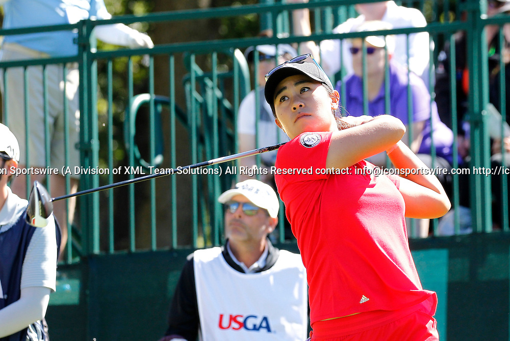 10 Jul 2016: Danielle Kang tees off on the 1st Hole at the LPGA-US Women's Open at CordeValle Golf Club in San Martin, CA. (Photo by Larry Placido/Icon Sportswire)
