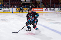KELOWNA, CANADA - OCTOBER 23:  Devin Steffler #4 of the Kelowna Rockets warms up against the Swift Current Broncos on October 23, 2018 at Prospera Place in Kelowna, British Columbia, Canada.  (Photo by Marissa Baecker/Shoot the Breeze)