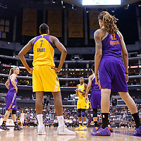 24 August 2014: Los Angeles Sparks forward/center Sandrine Gruda (7) is seen next to Phoenix Mercury center Brittney Griner (42) during the Phoenix Mercury 93-68 victory over the Los Angeles Sparks, in a Conference Semi-Finals at the Staples Center, Los Angeles, California, USA.