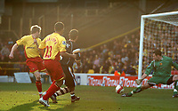 Photo: Tony Oudot.<br />Watford v Charlton Athletic. The Barclays Premiership. 03/03/2007.<br />Luke Young scores for Charlton Athletic