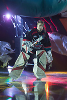 KELOWNA, CANADA - SEPTEMBER 22: Brodan Salmond #31 of the Kelowna Rockets enters the ice for home opener against the Kamloops Blazers on September 22, 2017 at Prospera Place in Kelowna, British Columbia, Canada.  (Photo by Marissa Baecker/Shoot the Breeze)  *** Local Caption ***