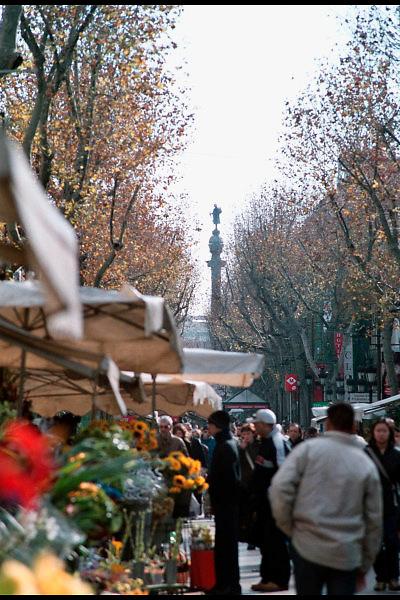 Spanje, Barcelona, 10-1-2004..Straatbeeld van de Ramblas met uitzicht op de colon, standbeeld van Columbus. Stadsbeeld, toerisme, stedentrip, bloemenverkoop, vakantie..Foto: Flip Franssen