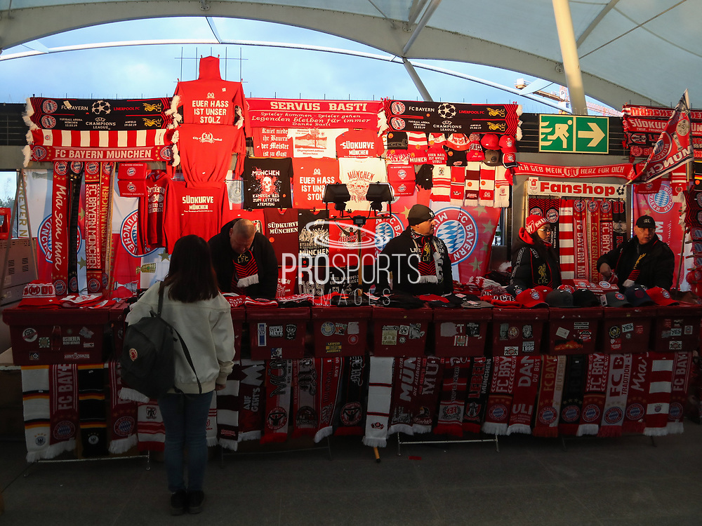 Fans shop prior the Champions League round of 16, leg 2 of 2 match between Bayern Munich and Liverpool at the Allianz Arena stadium, Munich, Germany on 13 March 2019.