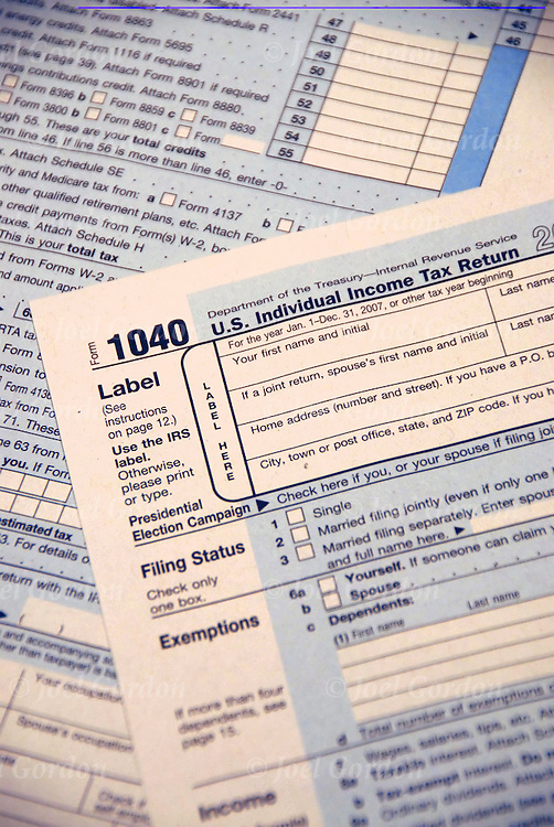 Studio still life of Internal Revenue Service 1040 US Individual Income Tax Return Form