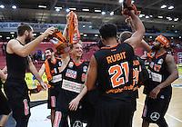Basketball  1. Bundesliga  2016/2017  Hauptrunde  12. Spieltag  04.12.2016 Walter Tigers Tuebingen - ratiopharm Ulm JUBEL Ulm; Tim Ohlbrecht, Braydon Hobbs, Per Guenther, Augustine Rubit und Da Sean Butler (v.li.)