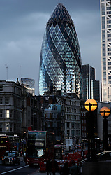 UK ENGLAND LONDON 22MAR14 - View of 30 St. Mary Axe, infomally known as 'The Gherkin', is a skyscraper in London's main financial district, the City of London.<br /> <br /> Designed by Norman Foster the building has become an iconic symbol of London and is one of the city's most widely recognised examples of contemporary architecture.<br /> <br /> <br /> <br /> jre/Photo by Jiri Rezac<br /> <br /> <br /> <br /> &copy; Jiri Rezac 2014