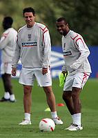 Photo: Paul Thomas.<br /> England Training Session. 01/09/2006.<br /> <br /> John Terry (L), Wayne Bridge and Ashley Cole (R).