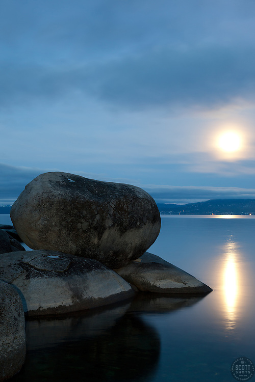 """Full Moon over Lake Tahoe 8"" - These boulders and full moon were photographed in the early morning near Memorial Point, Lake Tahoe."