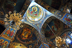 The ethereal interior of the Church of Our Savior on the Spilled Blood, built where Emperor Alexander II was assassinated in 1881 in St. Petersburg, Russia.