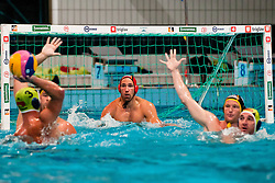 Andraz Verac of Slovenia vs Tim-Ole Fischer of Germany at water polo match between National men teams of Slovenia and Germany in Qualifications for European Championships in Eindhoven 2012 on June 18, 2011 in Pokriti bazen, Kranj Slovenia. (Photo By Matic Klansek Velej / Sportida.com)