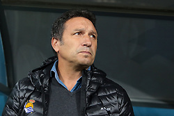 September 28, 2017 - Saint Petersburg, Russia - Head coach Eusebio Sacristán of FC Real Sociedad looks on during the UEFA Europa League Group L football match between FC Zenit Saint Petersburg and FC Real Sociedad at Saint Petersburg Stadium on September 28, 2017 in St.Petersburg, Russia. (Credit Image: © Igor Russak/NurPhoto via ZUMA Press)