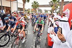 March 1, 2019 - Emirati Arabi Uniti - Foto LaPresse - Massimo Paolone.1 Marzo 2019 Emirati Arabi Uniti.Sport Ciclismo.UAE Tour 2019 - Tappa 6 - da Ajman a Jebel Jais - 180 km.Nella foto: Sheikh Ahmed Bin Humaid Al-Nuaimi  e VIVIANI Elia (ITA) DECEUNINCK-QUICK-STEP..Photo LaPresse - Massimo Paolone.March 1, 2019 United Arab Emirates.Sport Cycling.UAE Tour 2019 - Stage 6 - Ajman to Jebel Jais - 111,8 miles.In the pic: Sheikh Ahmed Bin Humaid Al-Nuaimi  and VIVIANI Elia (ITA) DECEUNINCK-QUICK-STEP (Credit Image: © Massimo Paolone/Lapresse via ZUMA Press)
