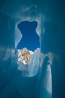 Looking out of a glacier crevasse in The Tasman Glacier (Haupapa) which is the largest glacier in New Zealand, and one of several large glaciers which flow south and east towards the Mackenzie Basin from the Southern Alps in New Zealand's South Island.