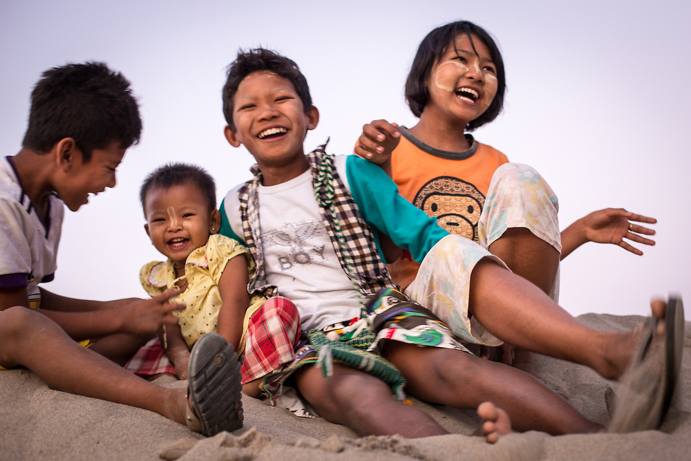 Myanmar. Burmese Kids sharing happiness.<br />