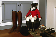 riding boots & black hat; teddy bear in fox hunting garb; house decoration