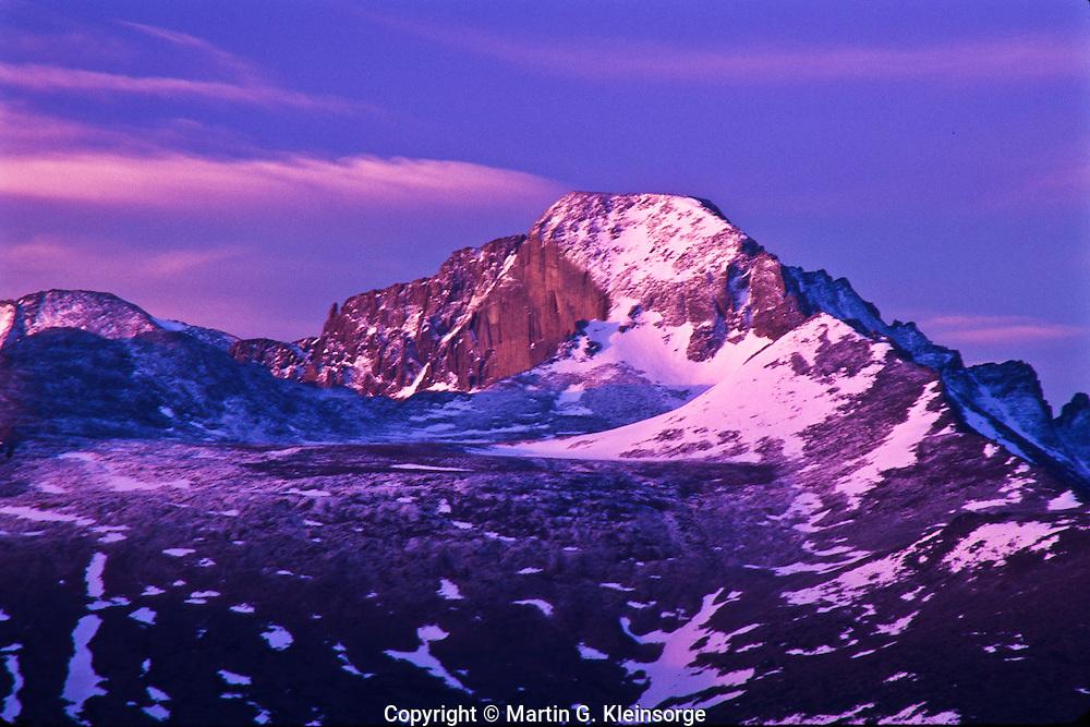 14,255 ft. Longs peak at sunrise.  Rocky Mountain National Park, Colorado.