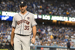 October 31, 2017 - Los Angeles, CA, USA - Houston's starting pitcher Justin Verlander walks off the mound after getting Los Angeles Dodgers' Justin Turner (not pictured) pops up for the last out of the 1st inning of game six of a World Series baseball game at Dodger Stadium on Tuesday, Oct. 31, 2017 in Los Angeles. (Photo by Keith Birmingham, Pasadena Star-News/SCNG (Credit Image: © Keith Birmingham/Los Angeles Daily News via ZUMA Wire)