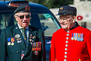 Rick Forest, 89 D-day, Reginald Widerspoon, 90 (L to R) - Second World War Veterans, Reg Wilderspin (89) and John Cuthbert (92), and serving Guardsmen on Horse Guards Parade Ground to highlight Royal British Legion events on Victory in Europe (VE) Day. The Legion is also announcing that veterans and their carers will receive funding towards attending the event on the weekend of the 8-10th May.<br /> <br /> Places will be available for a series of commemorative events over the weekend including on VE Day itself, Friday 8 May, when a Service of Remembrance will be held at The Cenotaph, with a national two minute silence at 3pm. On Sunday 10 May, there will a Service of Thanksgiving at 11am at Westminster Abbey attended by HM The Queen, followed by a parade from the Abbey to Horse Guards Parade and into St James&rsquo;s Park, where the Legion will host a lunch reception for the veterans.