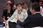 Arancha Gonzalez Laya, Executive Director, International Trade Centre (ITC), Geneva; Global Agenda Council on the Future of Regional Organizations  listens to Shen Changyu, Commissioner, State Intellectual Property Office of the People's Republic of China (SIPO), People's Republic of China at the World Economic Forum - Annual Meeting of the New Champions in Dalian, People's Republic of China 2015. Copyright by World Economic Forum / Greg Beadleat the World Economic Forum - Annual Meeting of the New Champions in Dalian, People's Republic of China 2015. Copyright by World Economic Forum / Greg Beadle