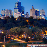 Downtown Kansas City MO skyline at dusk.