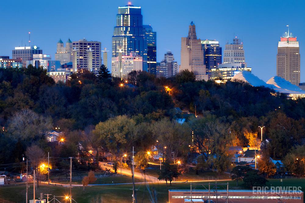 Downtown Kansas City MO skyline at dusk.