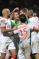 JOIE DE Jeremy TOULALAN / Maarten STEKELENBURG  - 17.12.2014 - Lyon / Monaco - Coupe de la ligue -<br /> Photo : Jean Paul Thomas / Icon Sport