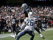 Oct 09 2016 - Oakland U.S. CA - Raiders wide receiver Michael Crabtree #15 game stats 3 catches for 47 yards and 1 touchdown during the NFL Football game between San Diego Chargers and the Oakland Raiders 34-31 win at O.co Coliseum Stadium Oakland Calif. Thurman James / CSM