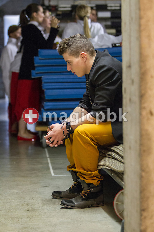 Swiss gymnast Lucas FISCHER, who has been diagnosed with epilepsy, prepares himself before performing during a musical interlude at the Swiss Championships in Aerobic in Aarau, Switzerland, Sunday, Dec. 9, 2012. As compensation for his illness and the professional sports (gymnastics) Lucas Fischer discovered singing. (Photo by Patrick B. Kraemer / MAGICPBK)
