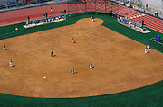 Baseball field with players seen from above.