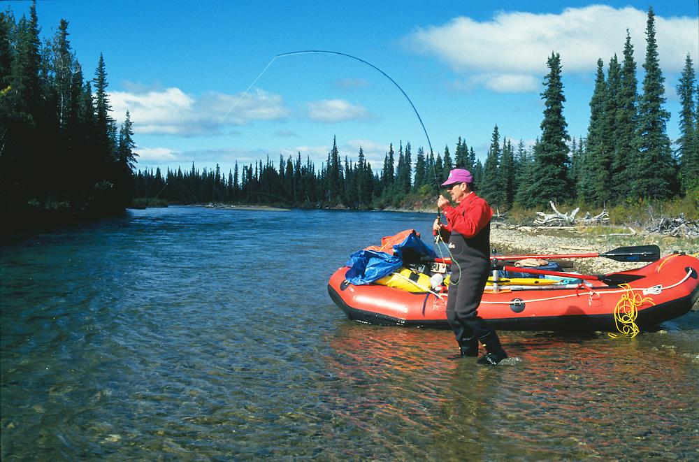 Alaska. Alaska Range. Chilikadrotna River. Flyfisherman with a fish on the line. Raft and rowing frame. MR.