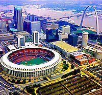 Aerial photograph of the St. Louis Arch and Downtown with Busch Stadium, St. Louis Cardinals Baseball