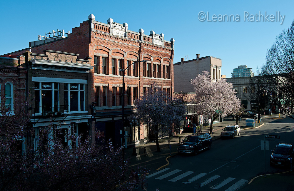 Exteriors of buildings in downtown Victoria, BC Canada show architectural creativity and attention to details.