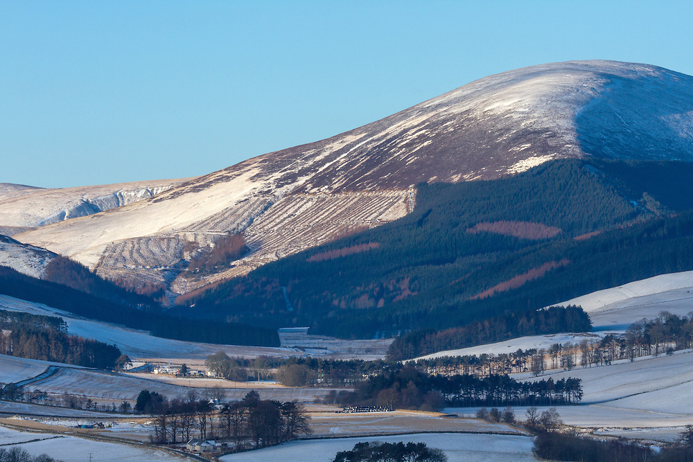 Late Winters dawn over the Scottish Border region of Upper Tweeddale overlooking the valley upto Chapelgill